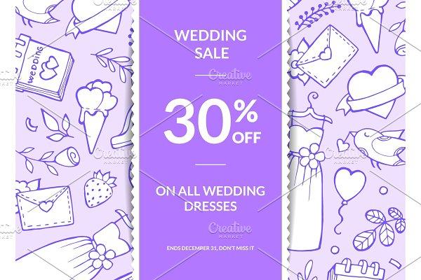 Vector doodle wedding elements sale