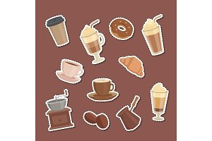 Vector cartoon coffee types stickers