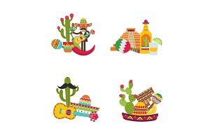 Vector flat Mexico set isolated on