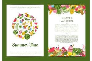 Vector flat cute summer elements