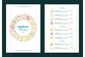 Vector line fruits icons vegan cafe