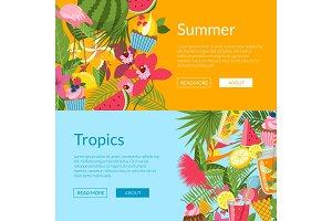 Summer elements, cocktails, flamingo