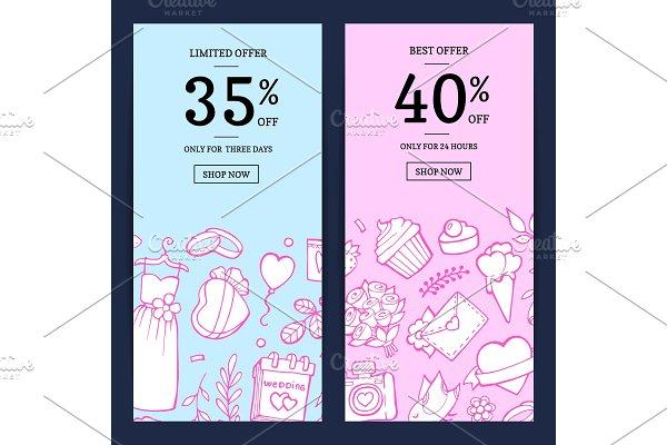 Vector doodle wedding sale web
