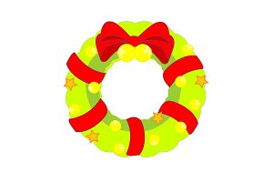 Christmas wreath decorated with bow