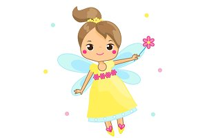 Cute fairy flapping magic wand