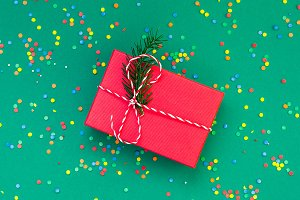 Christmas greeting card with red pre