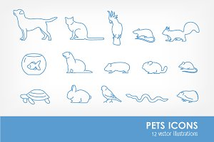 Pets line art icons and seamless