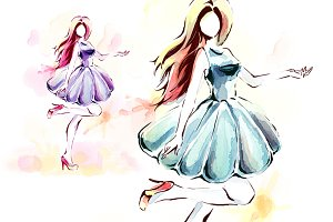 Watercolor painting, elegant girl