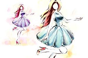 Watercolor painting, elegant girl