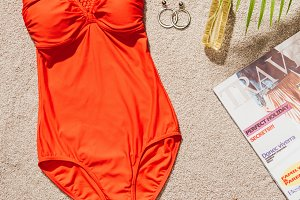 top view of stylish red swimsuit wit
