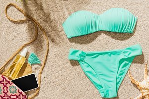 top view of stylish bikini and vario