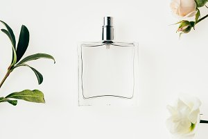 top view of glass bottle of perfume