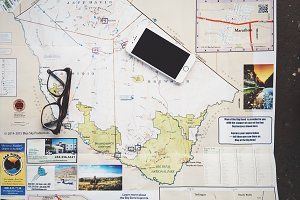 iPhone, Glasses and Map