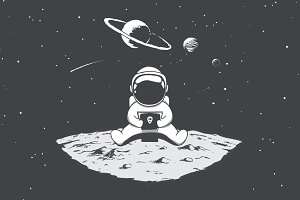 Cute astronaut playing on smartphone