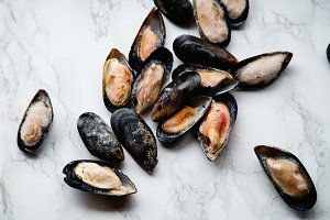 Top view with frozen mussels