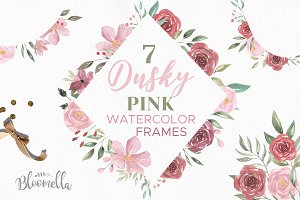 Flower Watercolor Frame Clipart Kit