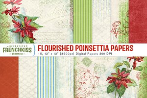Flourished Poinsettia Papers