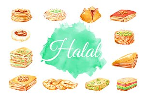 Halal food. Eastern sweets