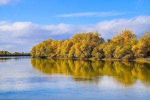 Autumn landscape. River and river