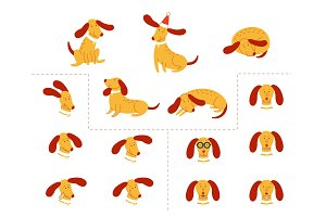 Vector funny dog pet animation flat