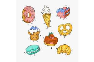 Vector illustration set of cute