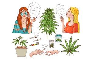 Vector cannabis smoking symbols