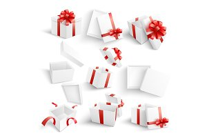 White gift boxes vector illustration