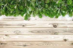 Christmas tree branches snow decorat