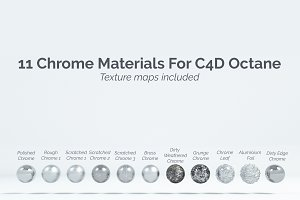 11 Chrome Materials for C4D Octane