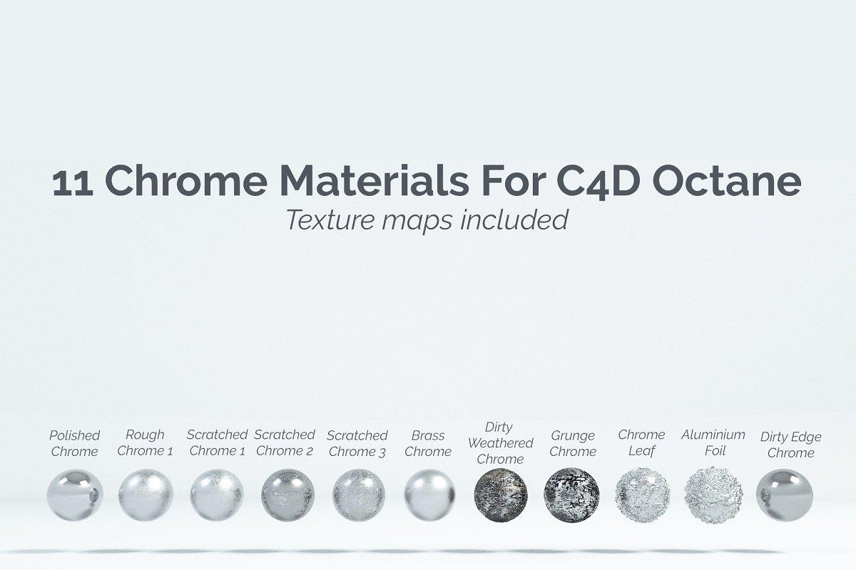 11 Chrome Materials for C4D Octane ~ 3D Models ~ Creative Market