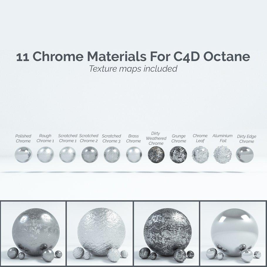 11 Chrome Materials for C4D Octane