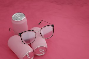 Pink glasses with pink Cans on