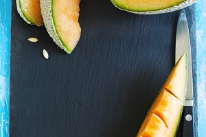 Cantaloupe melon slices.