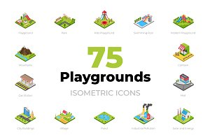 75 Playgrounds Isometric Icons
