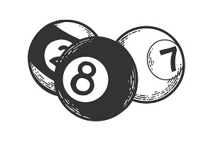 Billiard balls engraving vector