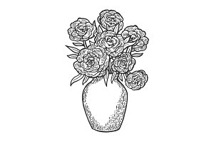 Flowers in vase engraving vector
