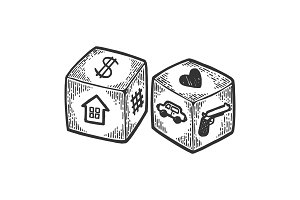 Dice with different symbol engraving