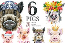 Cute watercolor pigs