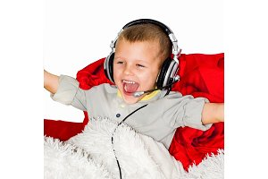 A boy in music headphones with a