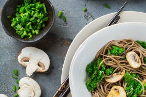 Buckwheat soba noodles soup ingredie