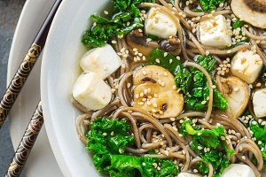 Buckwheat soba noodles soup ingredie