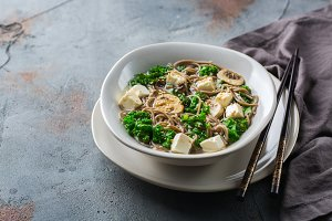 Buckwheat soba noodles soup for asia