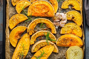 Baked roasted grilled orange pumpkin