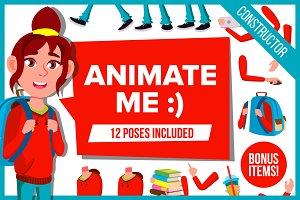 Animated Girl Schoolgirl Kid Vector