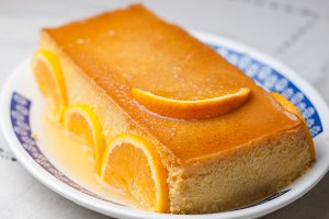 Orange custard in a studio shot
