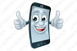 Mobile Cell Phone Mascot Cartoon