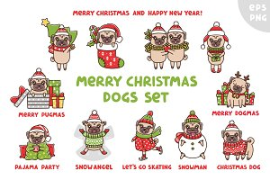Merry Christmas Dogs Set