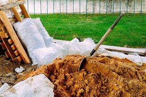 Soil with shovel