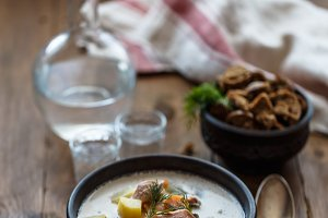 Fish soup with salmon, potato