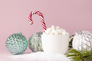 White mug with marshmallows Candy